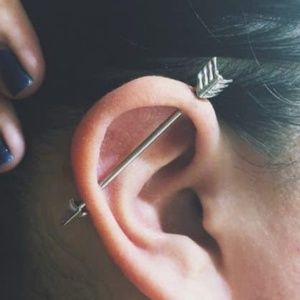 Industrial piercing arrow earring black